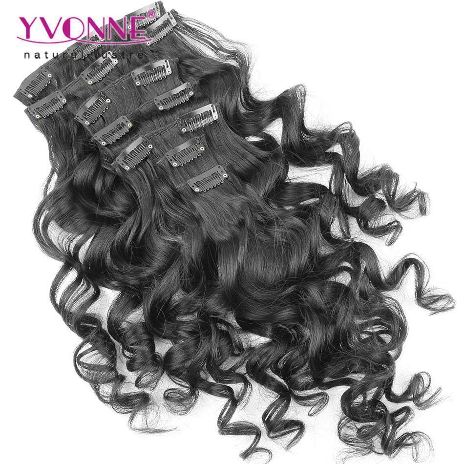 Loose Wave Hair Clip In Hair Extensions Natural Color7pcsset 100