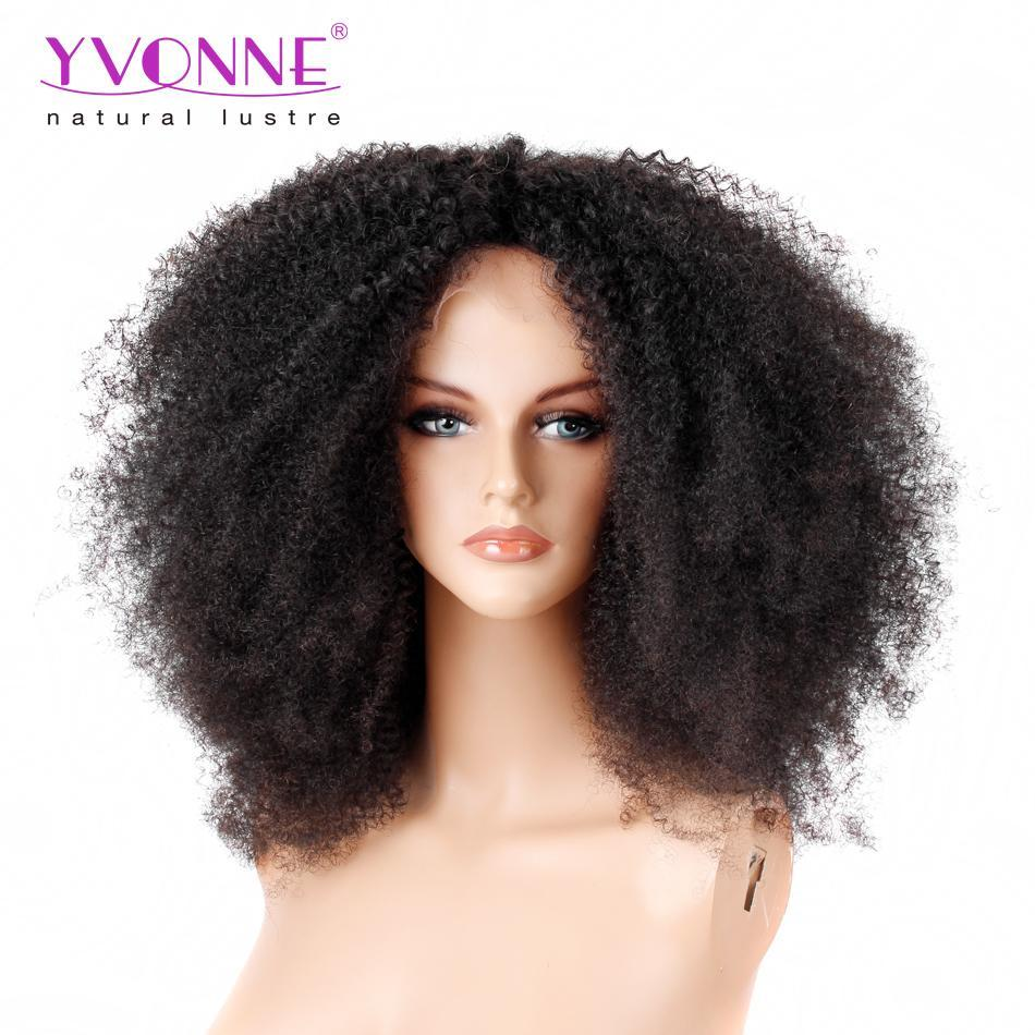 250% Density YVONNE Afro Curl Lace Front Human Hair Wigs For Black ...