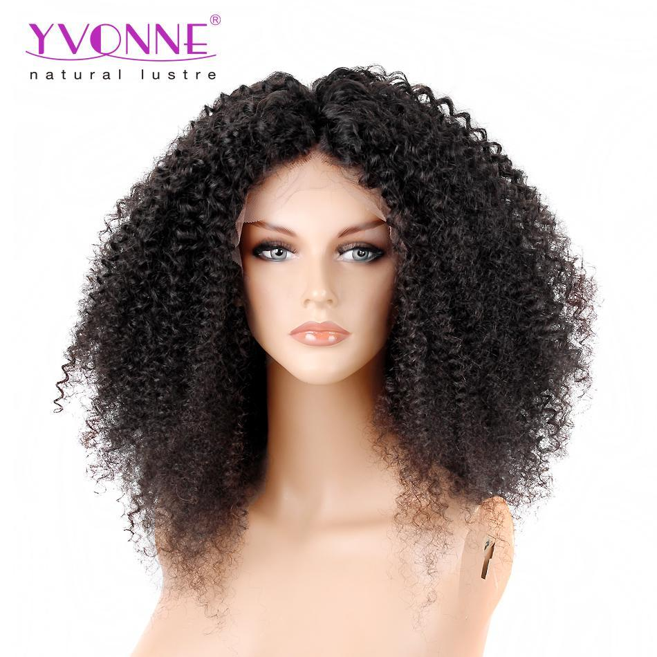 250% Density YVONNE Malaysian Curly Lace Front Human Hair Wigs For ...