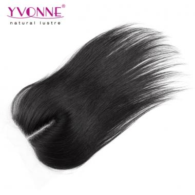100% Natural Straight Peruvian Virgin Hair Middle Parting Lace Top Closure 1B Color