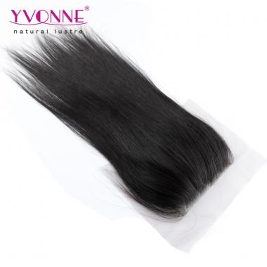100% Natural Straight Peruvian Virgin Hair Lace Top Closure 1B Color