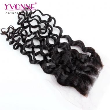 100% Italian Curl Peruvian Virgin Hair Lace Top Closure 1B Color