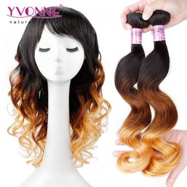 YVONNE Ombre Hair Grade 5A Peruvian Loose Wave,Human Hair Weave,Color 1B/4/30