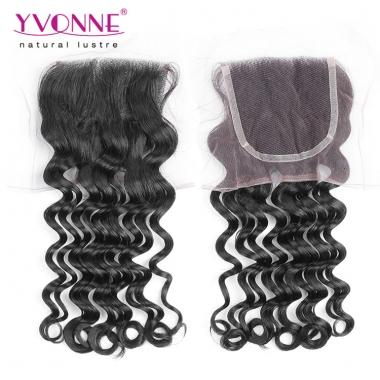 100% Loose Wave Peruvian Virgin Hair Lace Top Closure free parting 1B Color