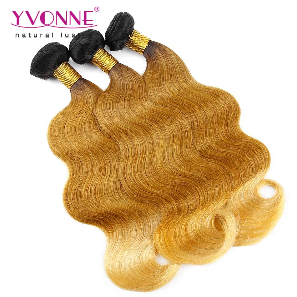 Yvonne Peruvian Ombre Hair Body Wave Human Hair Weave14inch 18inch