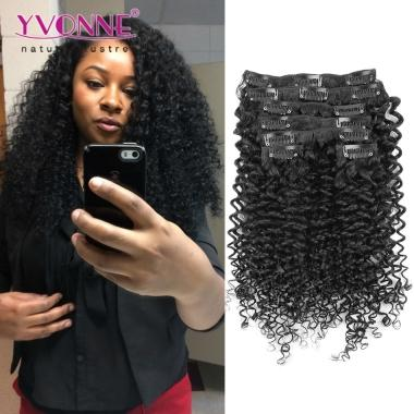 Malaysian Curly Human Hair Clip in Extensions,Brazilian Virgin Hair Clip in Extension,7Pcs/set,12-28 Inches in Stock