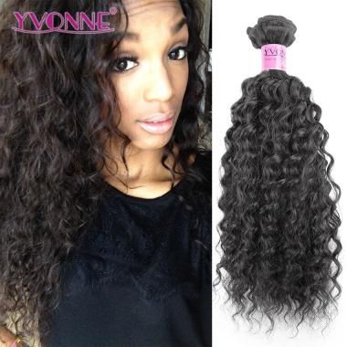 YVONNE Brazilian Water Wave Virgin Hair,100% Human Hair Weave,Top Quality Hair Weaving,Color 1B