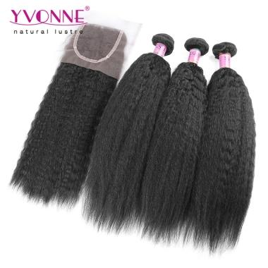 Kinky Straight Brazilian Virgin Hair 3 Bundles With Closure,New Arrival YVONNE Hair Products