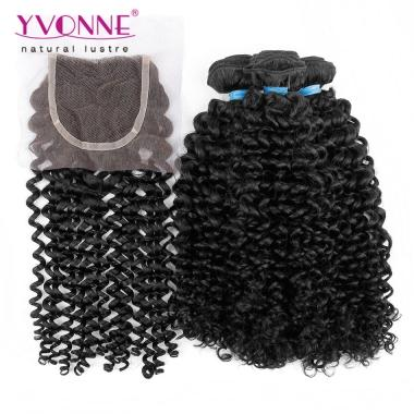 3 Bundles Malaysian Curly Hair With Closure,100% Brazilian Virgin Hair Bundles With Lace Closures,Top Quality Yvonne Hair Free Shipping