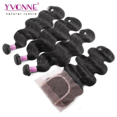 Platinum Grade Unprocessed Brazilian Virgin Hair With Closure, Natural Color 3Pcs YVONNE Brazilian Body Wave With Closure