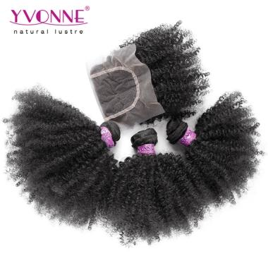 Top Quality Afro Kinky Curly Hair,3 Bundles Brazilian Virgin Hair With Closure,YVONNE Free Shipping Hair Products