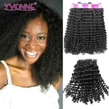 3 Bundles YVONNE Kinky Curly Virgin Hair With Closure,100% Brazilian Human Hair,Natural Color Free Shipping
