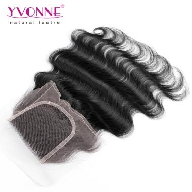 Peruvian Body Wave Virgin Hair Lace Top Closure 4x4 Natural Color