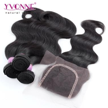 3 Bundles Brazilian Virgin Hair With Closure, YVONNE Brazilian Body Wave With Closure,100% Human Hair