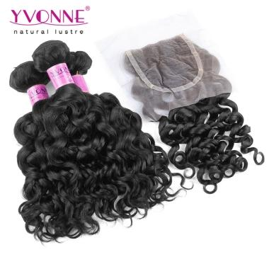 3 Bundles Italian Curly Brazilian Virgin Hair With Closure,YVONNE Human Hair Weave,Natural Color 1B