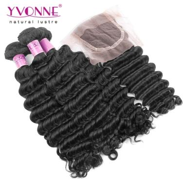YVONNE Virgin Hair Brazilian Deep Wave With Closure,3 Bundles Human Hair Weave With Closure,Natural Color