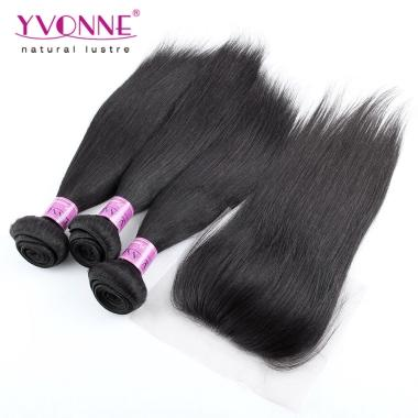 YVONNE Hair 3 Bundles Brazilian Straight Hair With Closure,100% Brazilian Virgin Hair With Closure