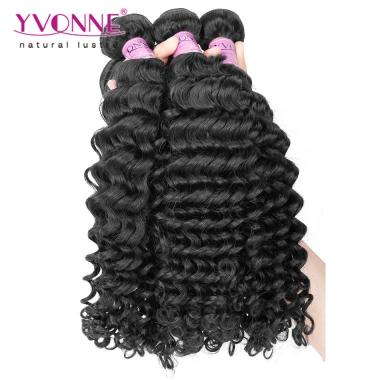 Grade 5A 100% Brazilian Deep Wave Virgin Hair Weave 1B Color