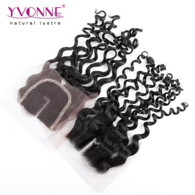 100% Italian Curl Peruvian Virgin Hair Middle Parting Lace Top Closure 1B Color