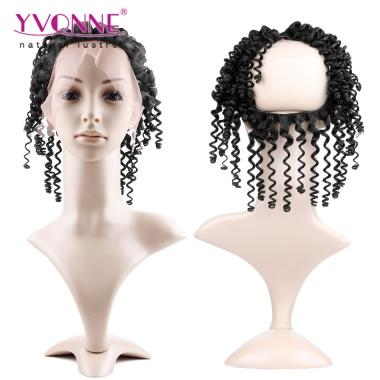 YVONNE Kinky Curly 360 Lace Frontal with Elastic Band,100% Human Hair Virgin Hair Brazilian Lace Frontal Closure,Size 13.5