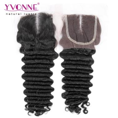 100% Deep wave Peruvian Virgin Hair Middle Parting Lace Top Closure 1B Color