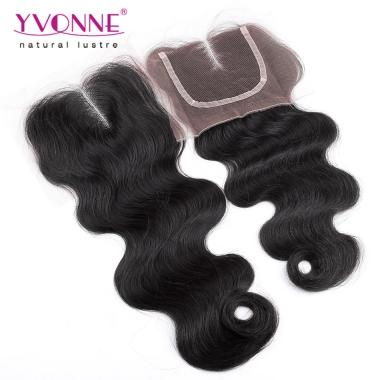 100% Body Wave Peruvian Virgin Hair Middle Parting Lace Top Closure 1B Color