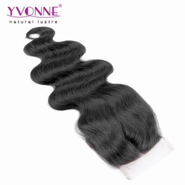 YVONNE New Brazilian Closure Body Wave Middle Parting 100% Virgin Hair 4*4 Lace Closure 1B Color