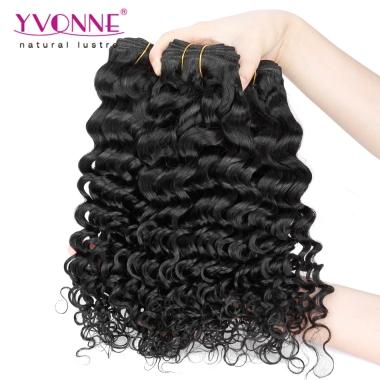 Free Shipping 3 Bundles 300g Cheap Virgin Hair Deep Wave Brazilian Human Hair Weave 10inch-20inch 1B Color