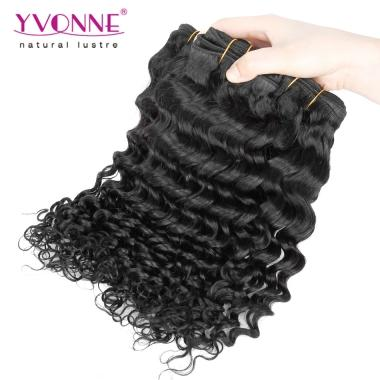 Yvonne Human Hair Brazilian cheap virgin Deep Wave Hair for  Black Women 10inch-20inch 1B Color