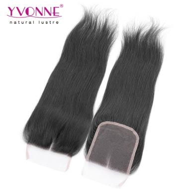 YVONNE New Brazilian Closure Natural Straight Middle Parting 100% Human Hair 4*4 Lace Closure 1B Color