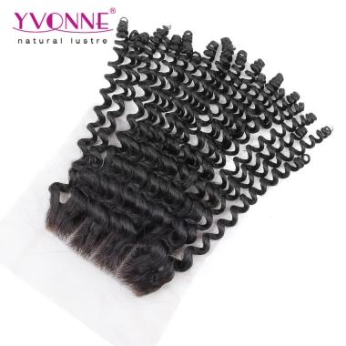 3 Part Lace Closure 4x4,Unprocessed Virgin Brazilian Kinky Curly Closure,100% Human Hair,YVONNE Hair Products