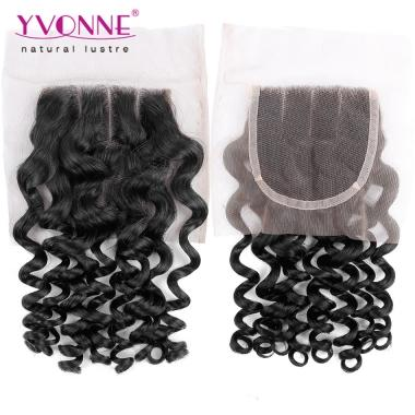 3 Part Lace Closure Italian Curly,100% Virgin Human Hair Curly Closure 4x4,YVONNE Hair Products