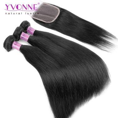 Low Price Unprocessed Hair Straight Weft With Closure,3Bundles Straight Weave With Closure Full Head Natural Color