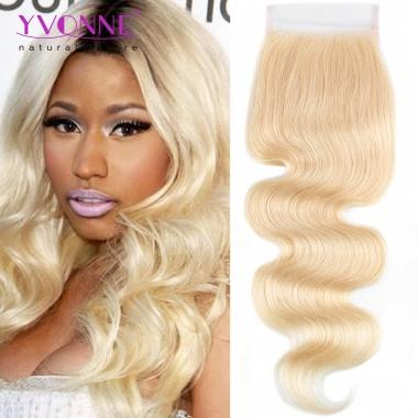 YVONNE Free Part Body Wave Blonde Closure,100% Virgin Human Hair,4x4 Lace Closure 613 Color 10