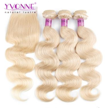 YVONNE Products 3 Bundles 613 Blonde Virgin Hair With Closure,Body wavy hair weft and blonde lace closure,100% Real Human Hair