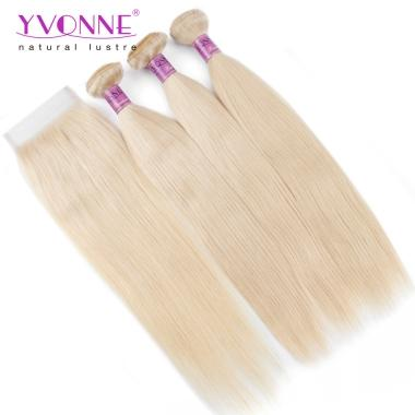 YVONNE Hair Products 3 Bundles 613 Blonde Straight Hair With 1 Pcs Free Part 4x4 Swiss Lace Closure