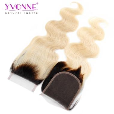 New Yvonne Hair 1B/613 Color Hair Closure,4x4 Lace Top Closure Body Wavy Virgin Human Hair Closure
