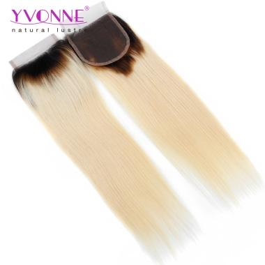 Best Quality Real Human Hair Free Parting Color 1B/613 Natural Straight Lace Top Closure