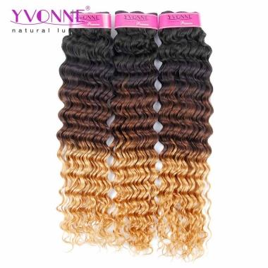 3 Tone Color 1B/4/30 Yvonne Ombre Hair Deep Wave Hair Weft,100% Human Hair Products 14-20inches in stock
