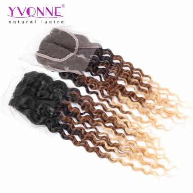 Yvonne Hair Products Deep Wave 3 Tone Color 1B/4/30 100% Virgin Hair Ombre Lace Closure