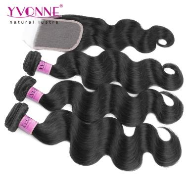 NEW Low Price Unprocessed Virgin Hair Weave With Closure, 3PCS Body Wave Weft With Closure Full Head