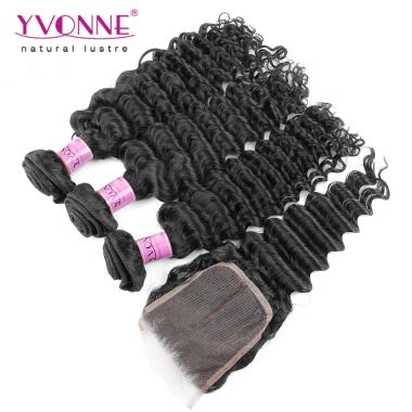 Low Wholesale Price Unprocessed Virgin Hair Weft With Closure,3Bundles Deep Wave Weave With Closure Full Head,Natural Color