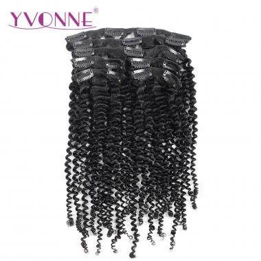 YVONNE 7 Pieces/Set 18 Clip Brazilian Kinky Curly Clip In Human Hair Extensions Virgin Hair Natural Color 120g/set