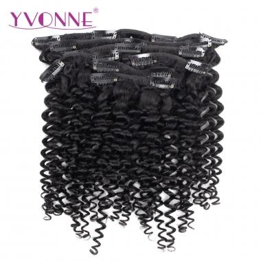 YVONNE Malaysian Curly Human Hair Clip In Hair Extensions Virgin Hair 7 Pieces/Set Natural Color 120g/set