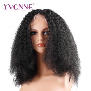 YVONNE 180% Density Afro Curly Lace Front Human Hair Wigs For Black Women Brazilian Virgin Hair Natural Color