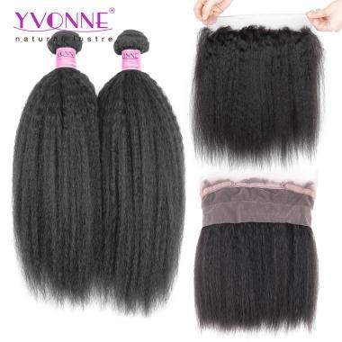 YVONNE 360 Lace Frontal with 2 Bundles Kinky Straight Weft,100% Brazilian Virgin Hair 22.5*4 Size Lace Frontal