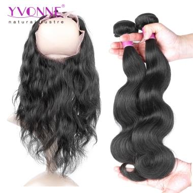 YVONNE Body Wave 2 Pieces Hair Weave with 360 Lace Frontal,Virgin Human Hair 1B Color,22.5*4 Size Swiss Lace