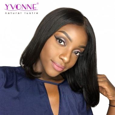 YVONNE Short Lace Front Human Hair BOB Wigs Brazilian Virgin Hair 180% Density Natural Color
