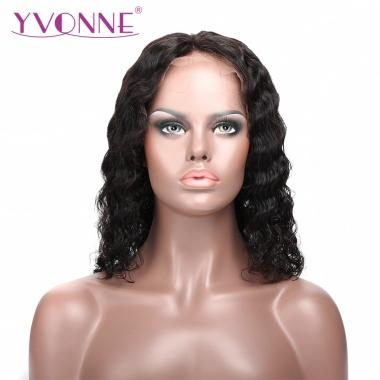YVONNE Hair Lace Front Wig Brazilian Curly Bob Wigs 100% Human Hair Natural Color Brazilian Hair