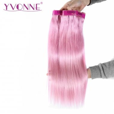 YVONNE Hair Products Pink Straight Human Hair Weave, Best Quality Colored Brazilian Hair Extensions